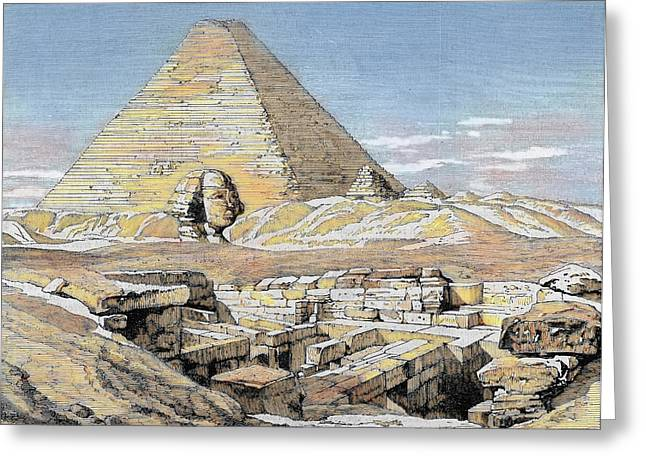 Egypt Pyramids And Sphinx Colored Greeting Card by Prisma Archivo