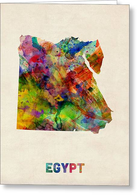 Egypt Watercolor Map Greeting Card by Michael Tompsett