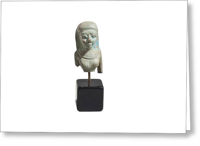 Egyptian Faience Bust Of A Lady Greeting Card by Science Photo Library