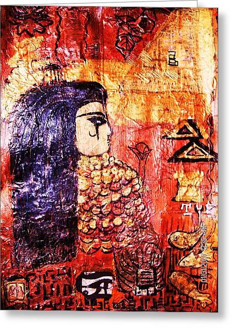 Egyptian Queen Work In Progress Greeting Card by Anne-Elizabeth Whiteway