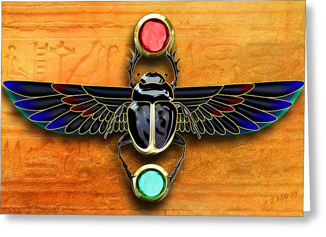 Egyptian Scarab Beetle Greeting Card by John Wills