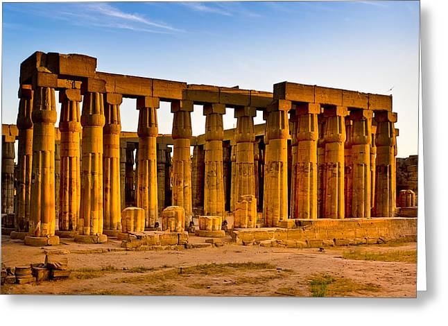Egyptian Temple Ruins In Luxor Greeting Card by Mark E Tisdale