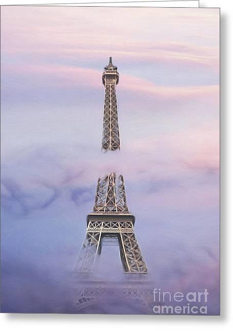 Eifell Tower By Fog Greeting Card by Martin Dzurjanik