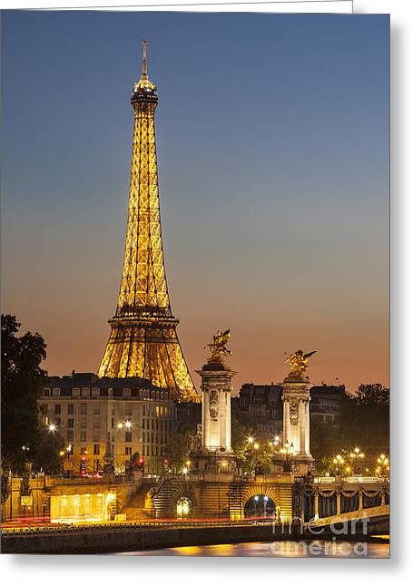 Greeting Card featuring the photograph Eiffel At Twilight by Brian Jannsen
