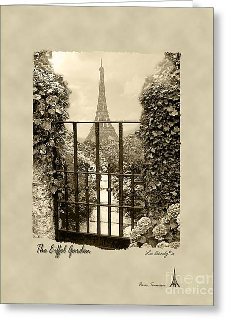 Eiffel Garden Sepia Greeting Card