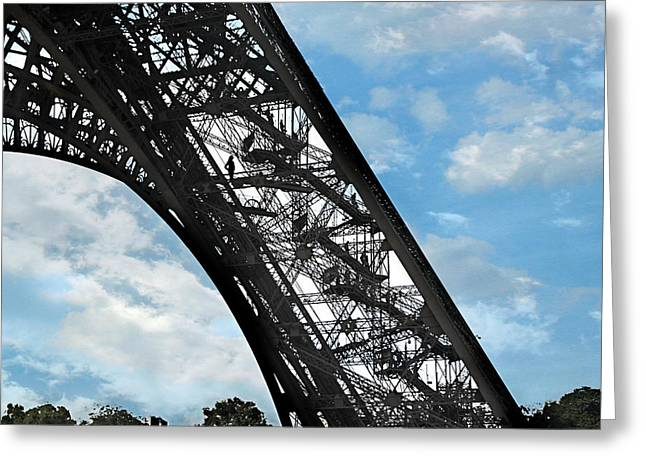 Eiffel Stairs Greeting Card by Lorella  Schoales