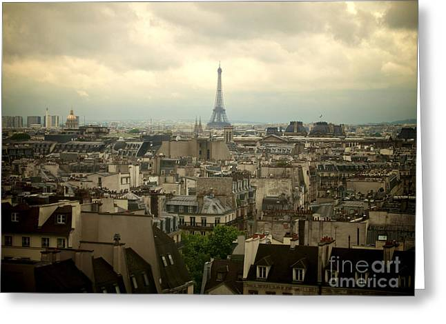 Eiffel Tower And Roofs Of Paris. France.europe. Greeting Card by Bernard Jaubert