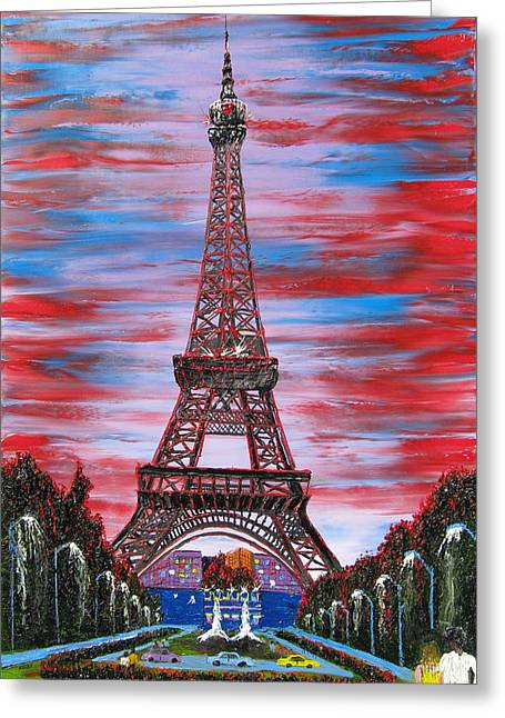 Eiffel Tower At Bastille Day Greeting Card by Portland Art Creations