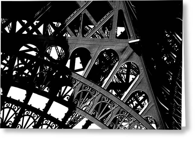 Eiffel Tower Bw Greeting Card by Jacqueline M Lewis