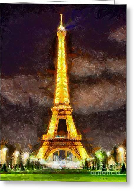 Greeting Card featuring the digital art Eiffel Tower By Night by Kai Saarto