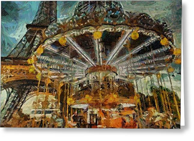 Eiffel Tower Carousel Greeting Card