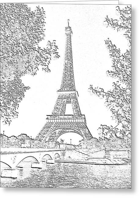 Eiffel Tower Charcoal Greeting Card