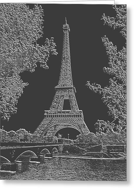 Eiffel Tower Charcoal Negative Image Greeting Card