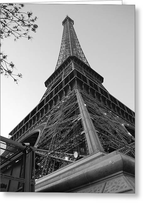 Eiffel Tower In Black And White Greeting Card by Jennifer Ancker