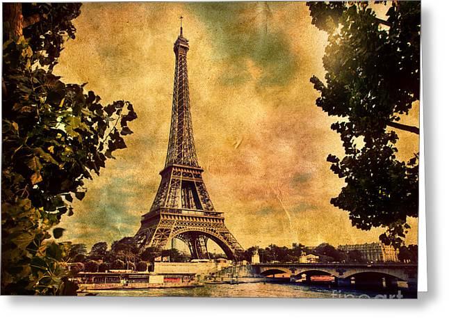 Eiffel Tower In Paris France Greeting Card by Michal Bednarek