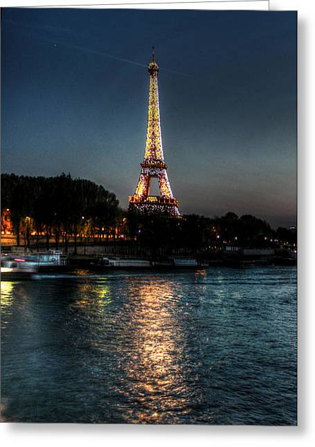 Eiffel Tower Night Time Greeting Card by Steve Ellenburg