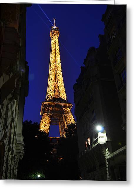 Eiffel Tower Paris France At Night Greeting Card by Patricia Awapara