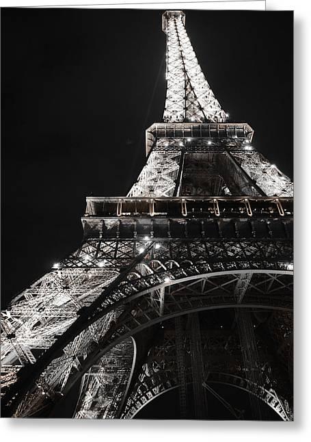 Eiffel Tower Paris France Night Lights Greeting Card by Patricia Awapara
