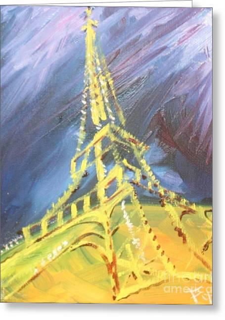 Eiffel Tower Paris Night Greeting Card by PainterArtist FIN