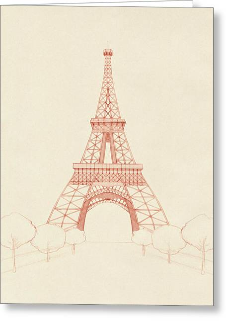 Eiffel Tower Blush Greeting Card by Catherine Noel
