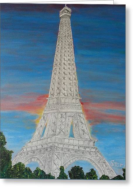 Eiffel Tower Red Sky Mm Greeting Card