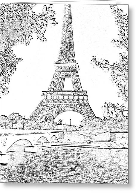 Eiffel Tower Seine River Charcoal Cropped High Greeting Card