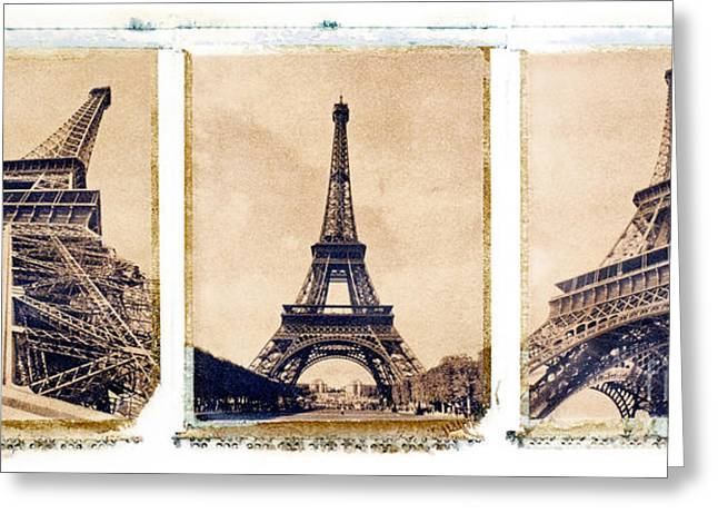 Eiffel Tower Greeting Card by Tony Cordoza