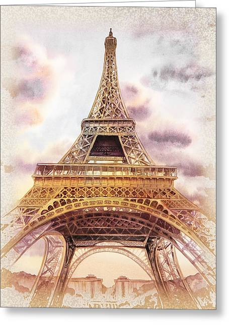 Greeting Card featuring the painting Eiffel Tower Vintage Art by Irina Sztukowski
