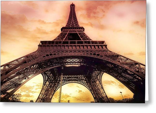 Eiffel Tower In Paris With Sunset Pink And Orange Greeting Card by Lynn Langmade