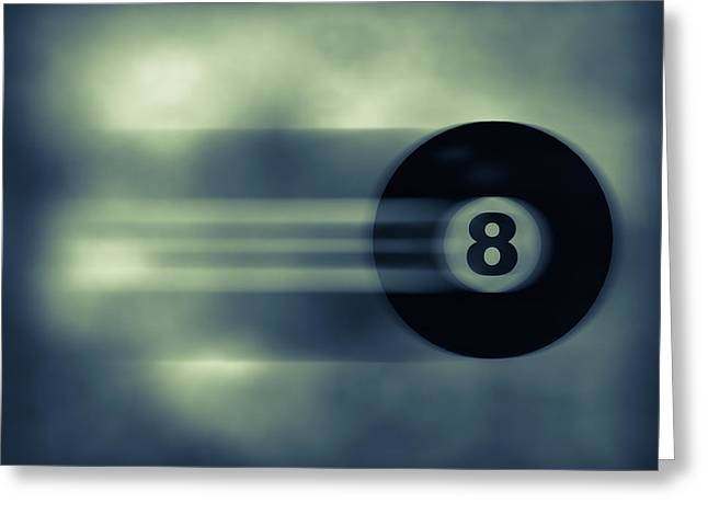 Eight Ball In Motion Greeting Card by Bob Orsillo