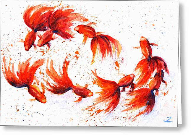 Eight Dancing Goldfish  Greeting Card