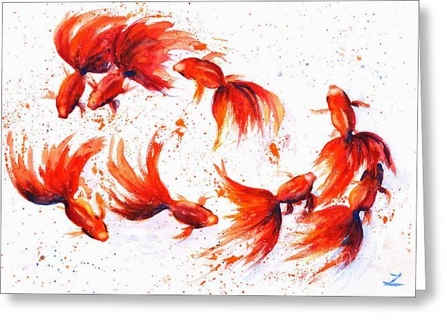 Eight Dancing Goldfish  Greeting Card