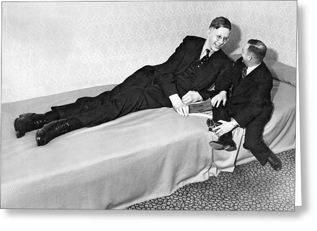 Eight Feet, Seven Inches Tall Greeting Card by Underwood Archives