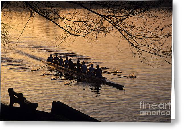 Eight Man Crew Rowing Along Montlake Cut  Greeting Card