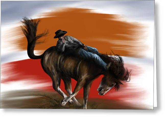 Eight Seconds - Rodeo Bronco Greeting Card