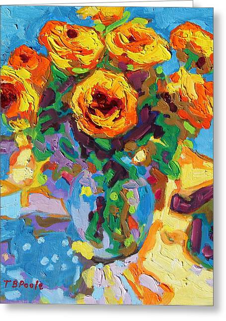 Eight Yellow Roses Oil Painting Bertram Poole Apr14 Greeting Card