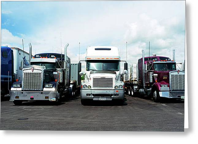 Eighteen Wheeler Vehicles On The Road Greeting Card by Panoramic Images