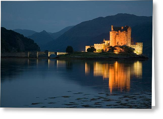 Eilean Donan Castle At Night Greeting Card by Jeremy Voisey