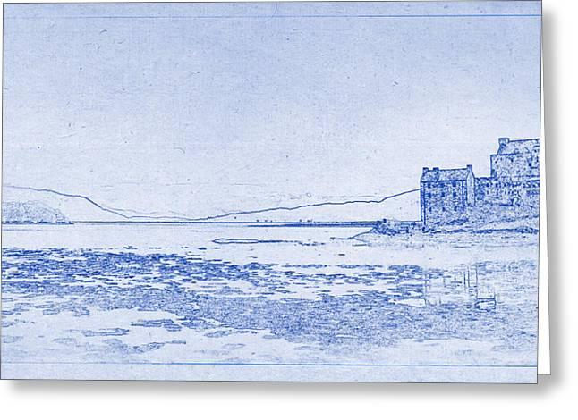 Eilean Donan Castle Blueprint Greeting Card by Kaleidoscopik Photography