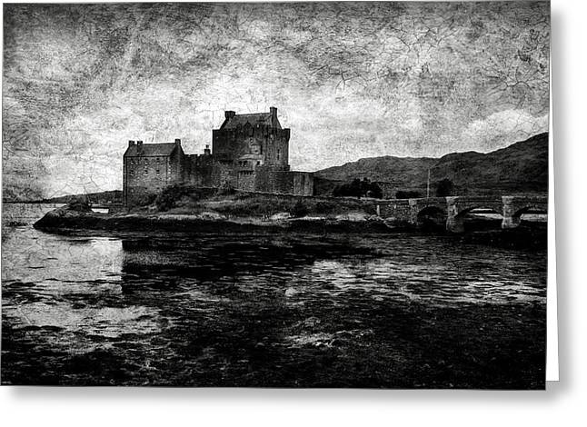 Eilean Donan Castle In Scotland Bw Greeting Card by RicardMN Photography
