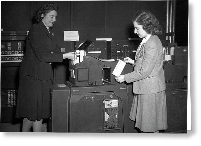 Einac Programmers With Punch Card Machine Greeting Card by American Philosophical Society