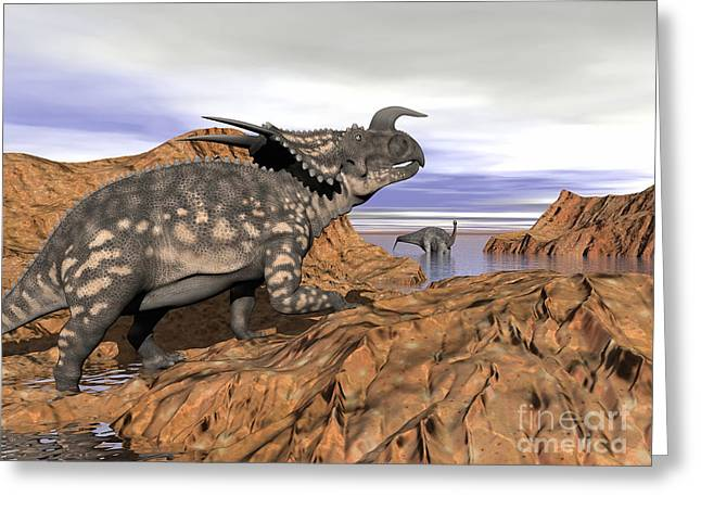 Einiosaurus Dinosaur On A Rock Greeting Card