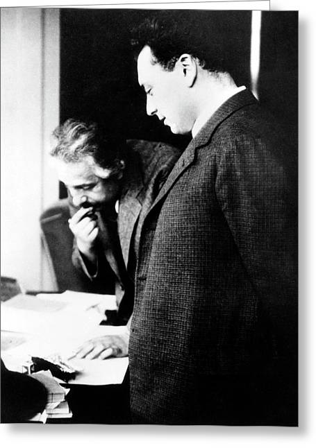 Einstein And Pauli Greeting Card by Emilio Segre Visual Archives/american Institute Of Physics
