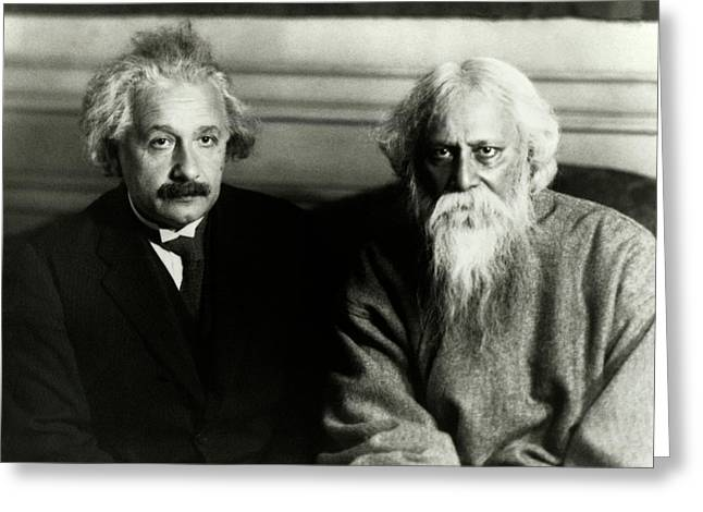 Einstein And Tagore Greeting Card by Emilio Segre Visual Archives/american Institute Of Physics