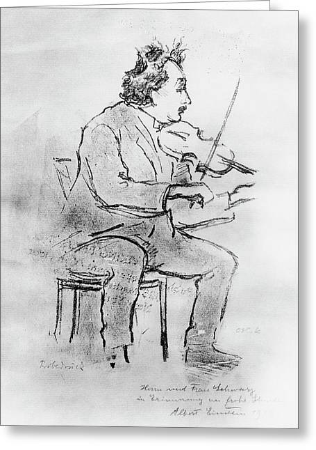 Einstein Playing The Violin Greeting Card by Emilio Segre Visual Archives/american Institute Of Physics