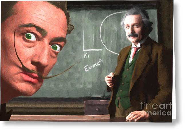 Einstein Shows Dali The Theory Of Relativity 20141215 Greeting Card by Wingsdomain Art and Photography