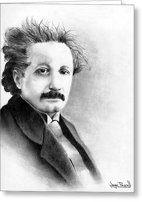 Greeting Card featuring the drawing Einstein by Wayne Pascall