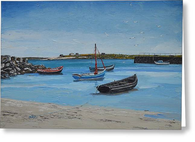 Eirlough Boats Roundstone Connemara Ireland Greeting Card