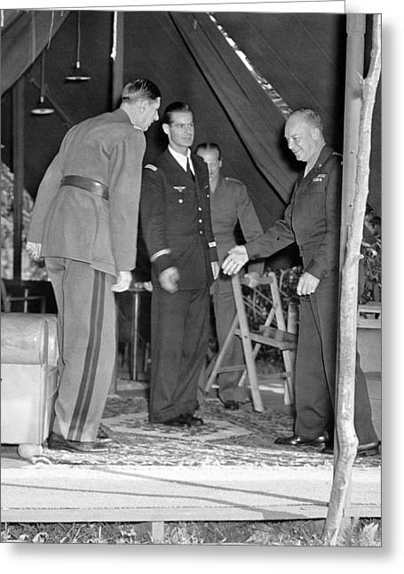 Eisenhower Greets De Gaulle Greeting Card