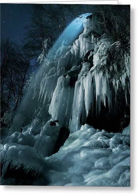 Eisfall Im Mondlicht Greeting Card by Nicolas Schumacher